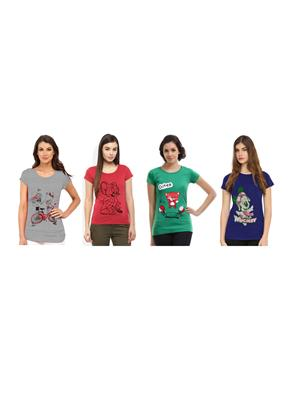 Modish Cmb4-Gn-Bl-Ph-Gr Multicolored Women T-Shirt Set Of 4