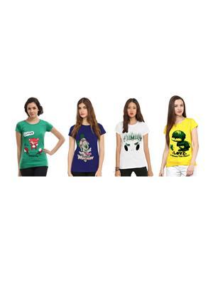 Modish Cmb4-Gn-Bl-Yl-Wt Multicolored Women T-Shirt Set Of 4