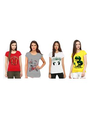 Modish Cmb4-Gr-Rd-Wt-Yl Multicolored Women T-Shirt Set Of 4