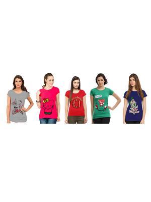 Modish Cmb5-Gr-Pk-Rd-Bl-Gn Multicolored Women T-Shirt Set Of 5