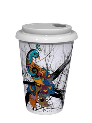 Kolorobia CMGP11 Graceful Peacock White Café Mug