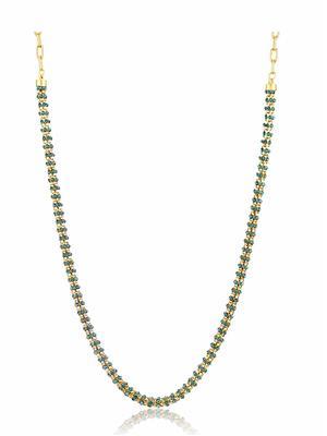 Donna Cn27009 Blue & Golden Women Necklace