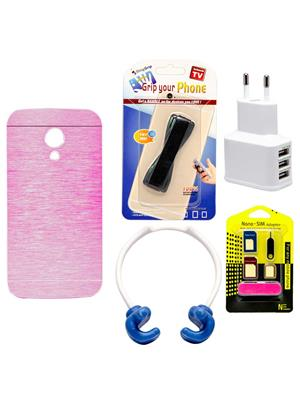 Mify 19-1128 Pink Back Cover Moto G 2Nd Gen. Combo Pack