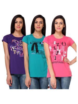Rose Taylor CTOPC1101 Multicolored Women T-Shirt Set Of 3