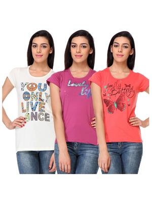 Rose Taylor CTOPC1102 Multicolored Women T-Shirt Set Of 3