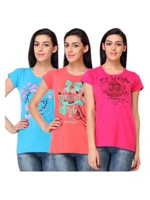Rose Taylor CTOPC1103 Multicolored Women T-Shirt Set Of 3
