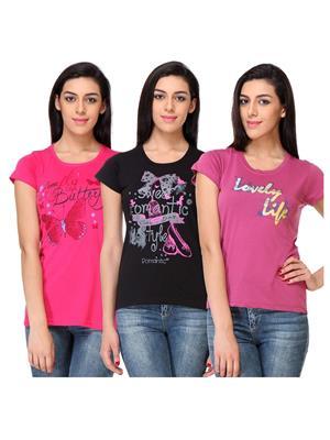 Rose Taylor CTOPC1104 Multicolored Women T-Shirt Set Of 3