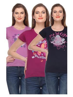 Rose Taylor CTOPC1105 Multicolored Women T-Shirt Set Of 3