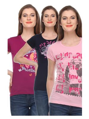 Rose Taylor CTOPC1106 Multicolored Women T-Shirt Set Of 3