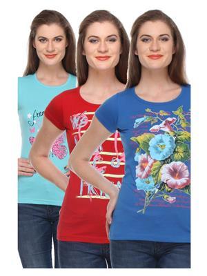 Rose Taylor CTOPC1107 Multicolored Women T-Shirt Set Of 3