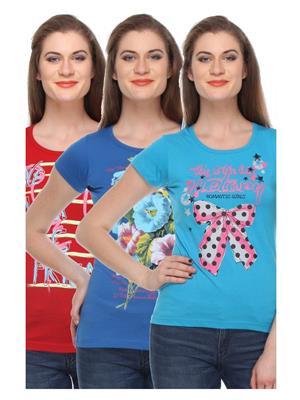 Rose Taylor CTOPC1108 Multicolored Women T-Shirt Set Of 3