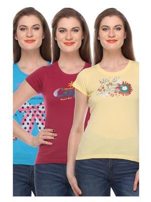 Rose Taylor CTOPC1110 Multicolored Women T-Shirt Set Of 3