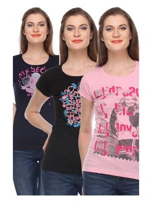 Rose Taylor CTOPC1111 Multicolored Women T-Shirt Set Of 3
