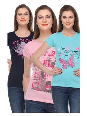 Rose Taylor CTOPC1112 Multicolored Women T-Shirt Set Of 3