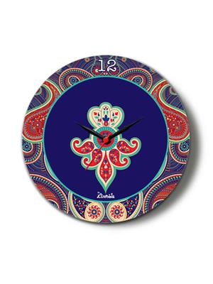 Kolorobia CTPS07 Blue Paisley Glass Clock