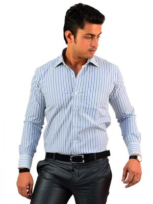 Western Closet WC08 Grey & Blue Men Formal Shirt