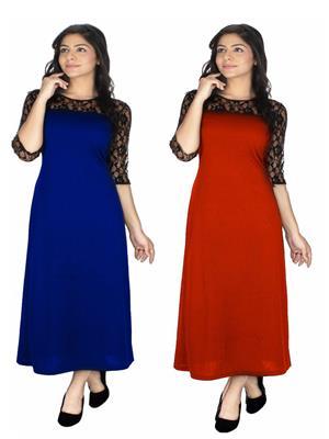 Abhinav Fashion Cmb2-Drs1092Blu-Rd Blue-Red Women Dresses Set Of 2