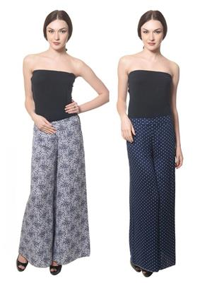 Lauriel Cmb2-Plz7006-Plz7007 Grey-Dark Blue Women Palazzo Combo Pack