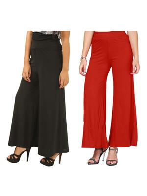 Lauriel Cmb2-Plz7009Blk-Red Black Women Palazzo Combo Pack