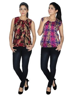 Lauriel Cmb2-tp2047MltiRd-2048MltiPnk Multicolored Women Top Combo Pack
