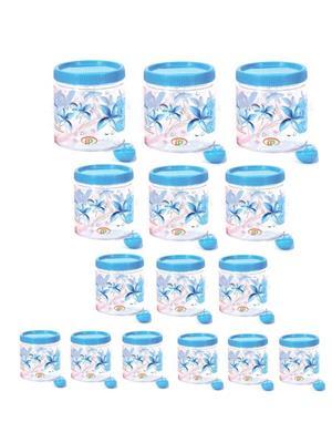 IntraPlasto Cozy Floral Blue Plastic Container set of 15