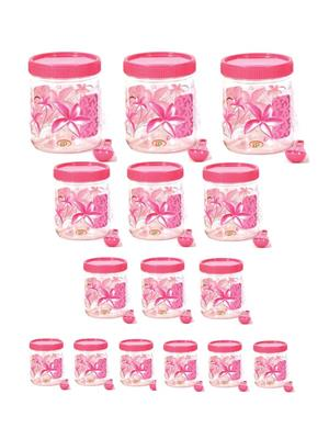 IntraPlasto Cozy Floral Pink Plastic Container set of 15