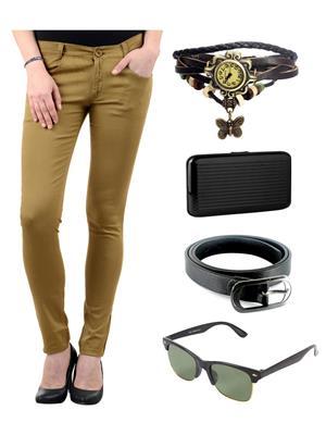 Ansh Fashion Wear DBEIGE-RP Beige Women Chinos With Watch, Belt, Sunglass & Card Holder