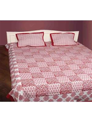 Dhiraj Enterprise DE 5101 Red & White Double Bed Bedding Set