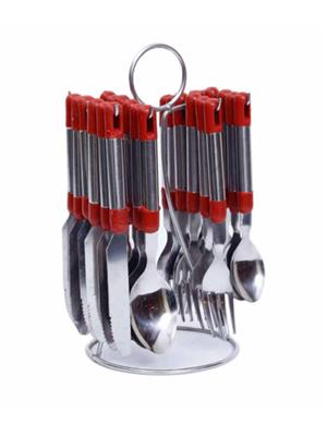 Pogo DGE02 Red Cutlery Set of 24 Pcs