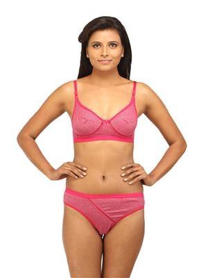 Desiharem Dhrn127El Pink Women Bra With Panty Combo Pack