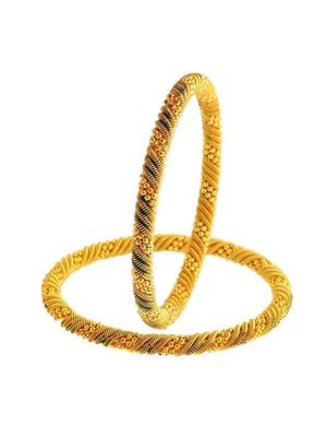 Awww Dm-Bs-540 Golden Women Bangles Set of 2