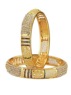 Awww Dm-B-13 Golden Women Bangles Set of 2