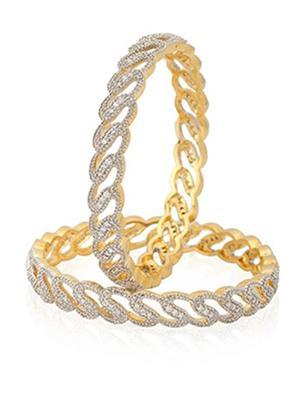 Awww Dm-B-153 Golden Women Bangles Set of 2