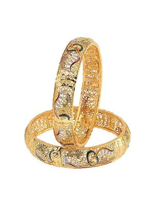 Awww Dm-B-26 Golden Women Bangles Set of 2