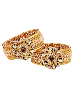Awww Dm-B-313 Golden Women Bangles Set of 2