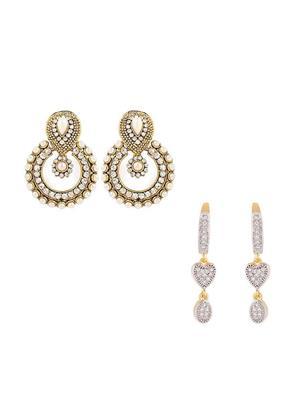 Awww Dm-C-Es-376 Elegant Heart Women Earrings Set Of 2