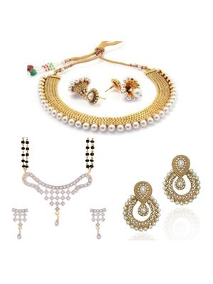 Awww DM-C-JS-720 Golden Women Jewellery Set Combo Pack