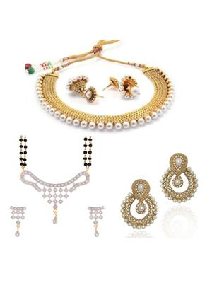 Awww DM-C-JS-754 Golden Women Jewellery Set Combo Pack