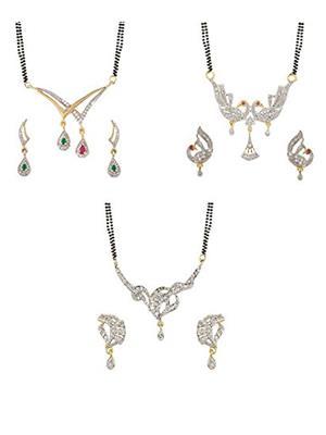 Awww DM-C-MS-729 Golden Women Mangalsutra with earring