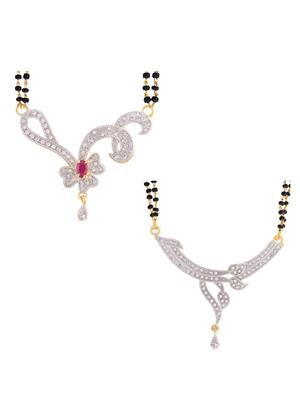 Awww DM-C-M-722 Golden Women Mangalsutra with earring