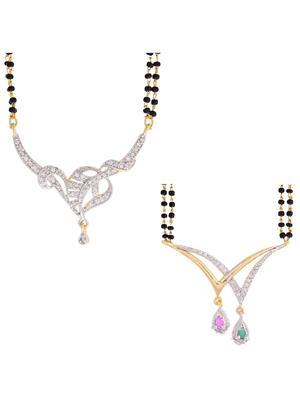 Awww DM-C-M-741 Golden Women Mangalsutra with earring