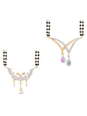 Awww DM-C-M-745 Golden Women Mangalsutra with earring
