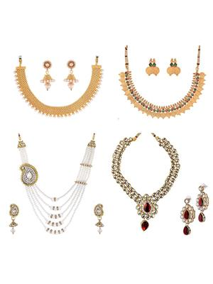 Awww DM-C-NSB-348 Golden Women Jewellery Set Combo Pack