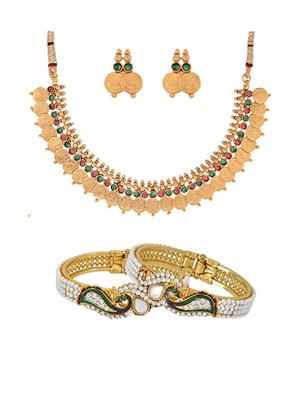 Awww DM-C-NSB-367 Golden Women Jewellery Set Combo Pack