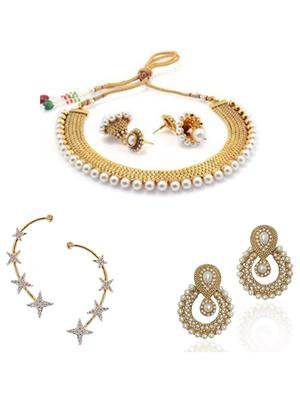 Awww DM-C-NSB-379 Golden Women Jewellery Set Combo Pack