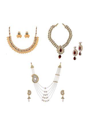 Awww Dm-C-Nsb-421 Golden Women Necklace Set