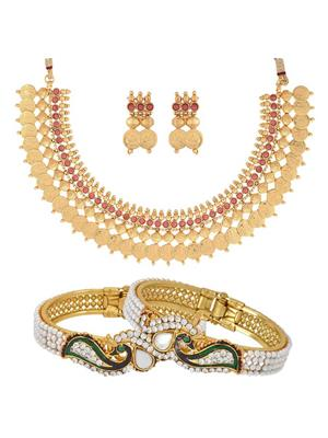 Awww DM-C-NSB-436 Golden Women Jewellery Set Combo Pack