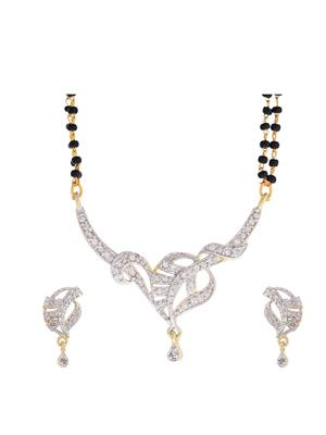 Awww DM-MS-248 Golden Women Mangalsutra with Earring