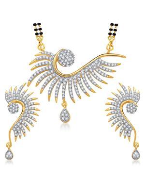 Awww DM-MS-519 Golden Women Mangalsutra with Earring