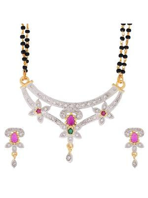 Awww DM-MS-529 Golden Women Mangalsutra with Earring
